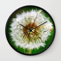 dandelion Wall Clocks featuring Dandelion by Falko Follert Art-FF77