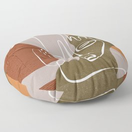 Abstract Face Line Neutral Floor Pillow