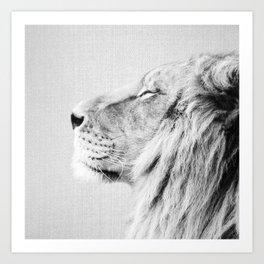 Lion Portrait - Black & White Art Print