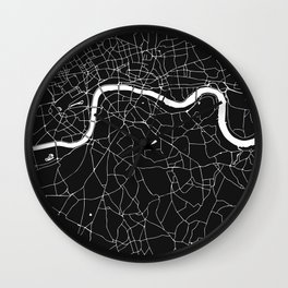 London Black on White Street Map Wall Clock