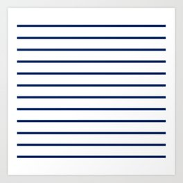Navy and White Breton Stripes Art Print
