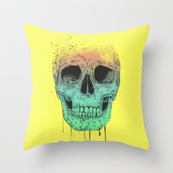 Pop art skull Throw Pillow