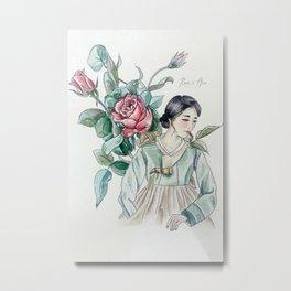 Roses (Hanbok girls) Watercolor Metal Print