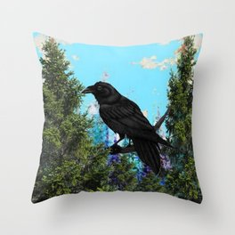 CROW &  Mountain Landscape Pines In Blue-Greens Throw Pillow