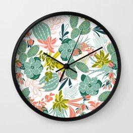 Succulent Garden White Wall Clock