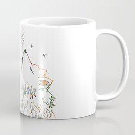 Wolf howling on moon sketch Coffee Mug