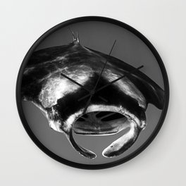 Manta Ray Black & White Wall Clock