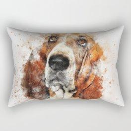 Basset Hound Watercolor Rectangular Pillow