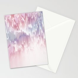 Falling Shades of purple and pink Glitch pattern Stationery Cards