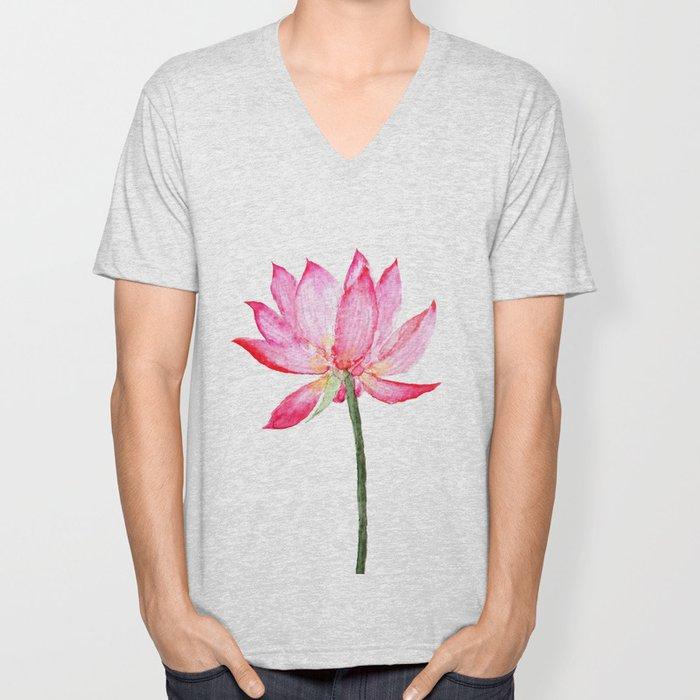 pink lotus flower Unisex V-Neck