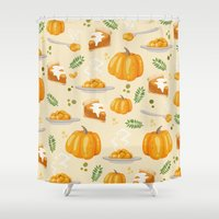 pumpkin Shower Curtains featuring pumpkin by Ceren Aksu Dikenci