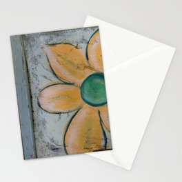 Big Red and Big Yellow Flower on Old Window Screen Double Flip Stationery Cards