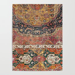 Persian Medallion Rug IX // 16th Century Distressed Red Green Blue Flowery Colorful Ornate Pattern Poster