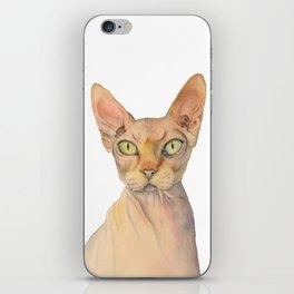 Sphynx Cat Watercolor Portrait iPhone Skin
