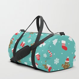 Merry Christmas and Happy new year cookies, lollipops and santa gloves Duffle Bag