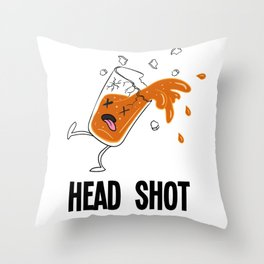 Drunk beer alcohol Headshot fun gift Throw Pillow