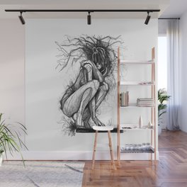 Sexy Woman Squatting Wall Mural