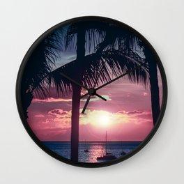 Maui Sunset Palms Wall Clock