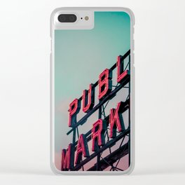 Seattle Pike Place Public Market Sign at Dawn Clear iPhone Case