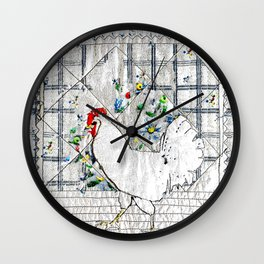 Rooster in blue & white Wall Clock