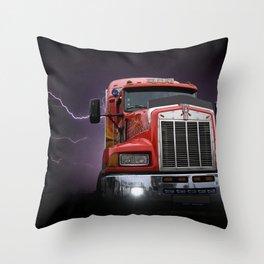 Red truck lightning bolt poster Throw Pillow