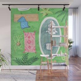 Green Tiled Bath drawing by Amanda Laurel Atkins Wall Mural