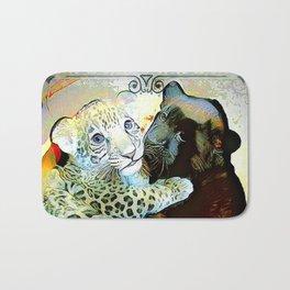 Big Cat Companions: Leopard & Black Panther Cubs 01-02 Bath Mat
