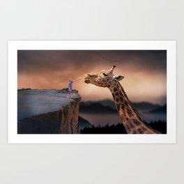 Giraffe and child Art Print