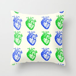 Anatomic hearts print (green and blue) Throw Pillow