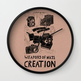Weapons Of Mass Creation - Photography (blk on brown) Wall Clock