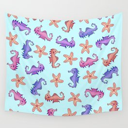 Cute Girly Watercolor Sea Horses and Starfish Summer Pattern Wall Tapestry