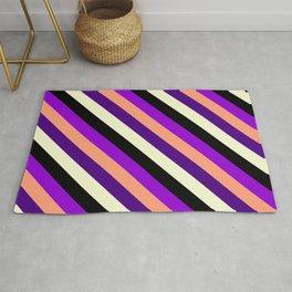 Eye-catching Dark Violet, Light Salmon, Indigo, Light Yellow, and Black Colored Lined Pattern Rug