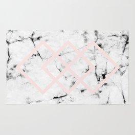 White Marble Concrete Look Blush Pink Geometric Squares Rug