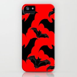 HALLOWEEN BATS ON BLOOD RED DESIGN iPhone Case