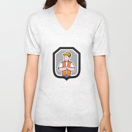 Construction Worker Arms Crossed Shield Cartoon Unisex V-Neck