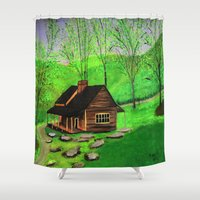 cabin Shower Curtains featuring Hillside cabin by maggs326