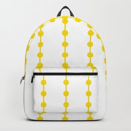 Geometric Droplets Pattern Linked - Summer Sunshine Yellow on White Backpack