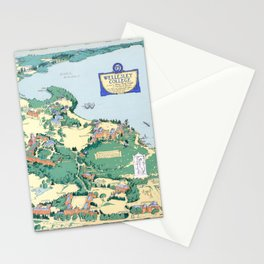 WELLESLEY College map MASSACHUSETTS dorm decor graduate Stationery Cards