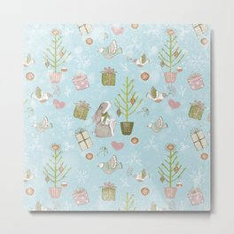 From Bunnies And Christmas-Cute teal X-Mas Pattern Metal Print
