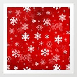 Light Red Snowflakes Art Print