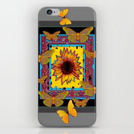 WESTERN BLACK & GREY BUTTERFLIES SUNFLOWERS iPhone Skin