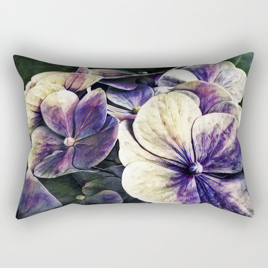 Hortensia flowers in vintage grunge watercoloring style Rectangular Pillow