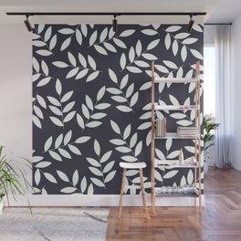 Leaves in Dark Grey Wall Mural