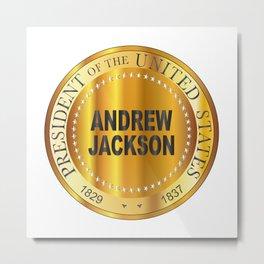 Andrew Jackson Gold Metal Stamp Metal Print
