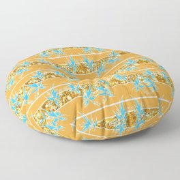 Orange, Teal and Gold Sparkle Textile Floor Pillow
