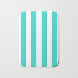 Vertical Stripes - White and Turquoise Bath Mat