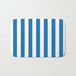 Biscayne Blue Vertical Tent Stripes Florida Colors of the Sunshine State Bath Mat