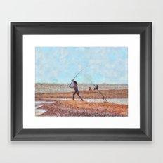 Beach Casting At Dungeness Framed Art Print
