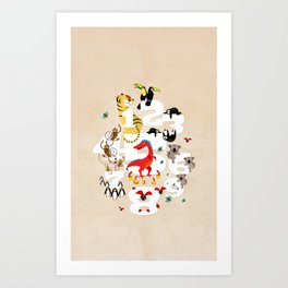 One Two Three Animals in the Kids Room – Illustration for boys and girls Art Print