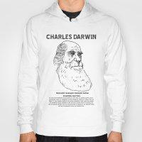 darwin Hoodies featuring Charles Darwin by Ron Trickett